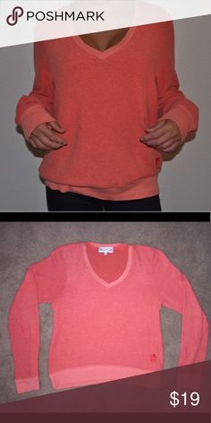 Wildfox Orange/Coral Sweater Lightly worn, soft, nearly perfect condition Wildfox Sweaters V-Necks