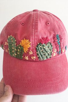 Hand Embroidered Hat - embroidered cactus hat - floral embroidered hat - festival hat - embroidered baseball cap - washed denim hat The best types of baseball hats include embroidery and cacti Hat Embroidery, Hand Embroidery Stitches, Vintage Embroidery, Cross Stitch Embroidery, Embroidery Designs, Diy Clothes Embroidery, Cactus Embroidery, Simple Embroidery, Embroidery Techniques