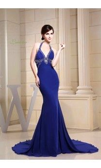 Royal Blue Mermaid Sweetheart Halter Chapel Train Chiffon Beading Evening Dress