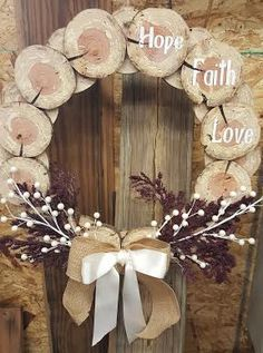 Cedar Disc Wreath Decoration by JLCraftsandWoodwork on Etsy