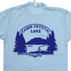 Camp Crystal Lake T SHIRT Friday the 13th vintage soft Shirts poster Cult Horror womens mens Kids Tee shirt by Shirtmandude on Etsy https://www.etsy.com/uk/listing/158232354/camp-crystal-lake-t-shirt-friday-the