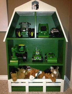 10 Creative Toy Storage Tips for Your Kids John Deere Bedroom, John Deere Boys Room, John Deere Nursery, John Deere Kids, John Deere Baby, Creative Toy Storage, Lego Storage, Kids Barn, Green Barn
