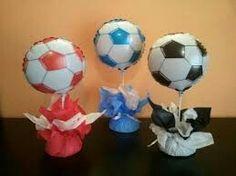 Centro de mesa pelotas de futbol