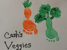 Foot Prints Carrot and Broccoli - Candra Faulkner Daycare Crafts, Classroom Crafts, Baby Crafts, Summer Crafts For Toddlers, Art For Kids, Toddler Art, Toddler Crafts, Infant Crafts, Vegetable Crafts