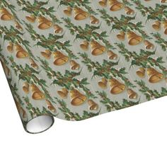 Christmas Frozen Bells and Holly Gift Wrap Paper $16.95