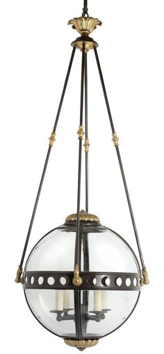 Cox London - Spherical Lantern. Bronzed and distressed gilt lantern with four hanging struts leading to distressed gilt canopy. Wired with four way pendant interior and glazed with eight curved glass panels.