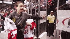 No idea who Jordin Tootoo is, but this kid looks so happy, so it must be a g big deal