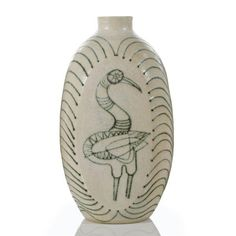 Carlton Ball, Aaron Bohrod, Vase 10 in cm) Glazed earthenware Circa 1958 Ceramic Pottery, Ceramic Art, Earthenware, Stoneware, Black And White Birds, Vintage Interior Design, Art Sketchbook, Decorative Objects, Auction