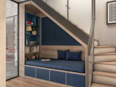 Solutions Architectoniques : Optimiser les espaces complexes © Domelia Implantation of a welcoming bench seat supported on a row of … Stairs In Living Room, House Stairs, Home Stairs Design, Dream Home Design, Under Stairs Nook, Open Stairs, Staircase Storage, Basement Stairs, Home Decor Furniture