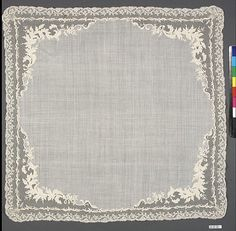 Handkerchief Date: 1830–40 Culture: French Medium: Cotton Dimensions: L. 19 x W. 19 1/4 inches (48.3 x 48.9 cm) Classification: Textiles-Embroidered Credit Line: Anonymous Gift, 1949