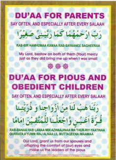 Du'a (prayer) for parents children Daily Du'as Duaa Islam, Islam Hadith, Allah Islam, Islam Quran, Quran Surah, Alhamdulillah, Islam Muslim, Muslim Women, Islamic Prayer