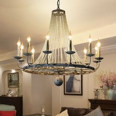 This large candelabra chandelier would be a great glam addition to your home. A perfect blend of sparkling crystal beads and distressed white finish makes this creative design not only suit for modern style but also for vintage interiors. Ball finial h Entryway Chandelier, Wheel Chandelier, Chandelier Lighting, Rustic Chandelier, Rustic Candles, Vintage Candles, Large Chandeliers, Vintage Interiors, Mediterranean Homes