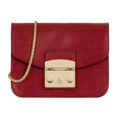 Designer Clothes, Shoes & Bags for Women Calf Leather, Red Leather, Leather Crossbody, Leather Handbags, Furla Metropolis Mini, Casual Steampunk, Dark Khaki, Emo Outfits, Mini Bag