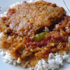 Lecsós karajszelet párolt rizzsel
