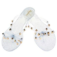 86cb91c66 Tengyufly Womens Rivets Bowtie Flip Flops Jelly Thong Sandal Rubber Flat  Summer  fashion  clothing