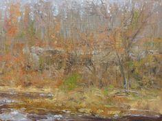 "Raymond Berry: Rock Face on South Anna, Through the Trees, November 15, 2013, Oil on Panel, 12"" x 16"""