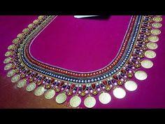 kasu coin ari work blouse embroidery designs - YouTube Magam Work Blouses, Latest Maggam Work Blouses, Blouse Back Neck Designs, Bridal Blouse Designs, How To Stitch Blouse, Saree Kuchu Designs, Mirror Work Blouse, Maggam Work Designs, Aari Work Blouse
