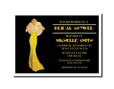 Bridal Shower Invitations Announcements / Wedding - Party / Black Vintage Ad / Art Deco Lady in Yellow Dress with Fur  Retro / Envelopes $100/50 ; can do custom color