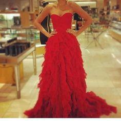 Red Ruffle Long Prom Dress ,Elegant Prom Dress ,Prom Dress with Trains,Prom…