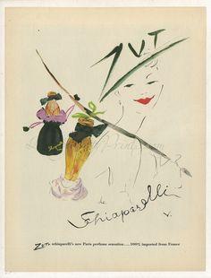 Original Vintage Vertes Linen Backed 1949 Elsa Schiaparelli Perfume Print AD ZUT | eBay
