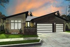 3 bed modern house plan 62547DJ Just over 2,000 sq. ft. all on one level #modernhouseplan @adhouseplans