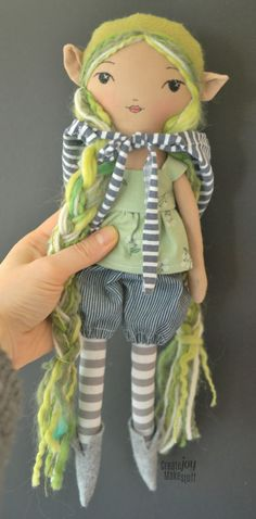 "Wila - 14"" cloth doll. Handmade with joy. One-of-a-kind - elf - rag doll - fabric @createjoymakestuff"