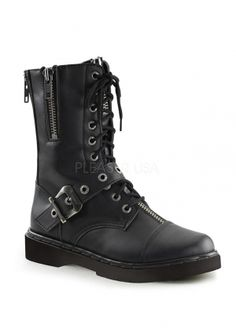 Vegan Leather Lace Up Boots