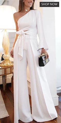 Mode reine Tönung Off Shoulder Overall Vestido Off Shoulder, Off Shoulder Jumpsuit, Spring Fashion, High Fashion, Womens Fashion, Elegantes Outfit Frau, Classy Outfits, Cute Outfits, Romper Outfit