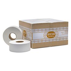 "Our most popular ""private brand"" Impression tissue is made from recycled paper. 12 Rolls Per Case 9"" Diameter 23 lbs  http://www.mobilejanitorialsupply.com/product/impression__premium_9_inch_jumbo_roll_tissue_2_ply.aspx"