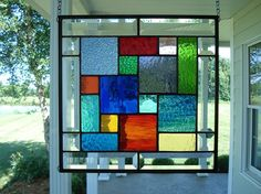 Stained Glass Window Panel Multi Colors & Bevels by TheGlassShire
