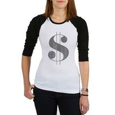 Grungy Dollar Sign in Grey Retro Font Baseball Jer