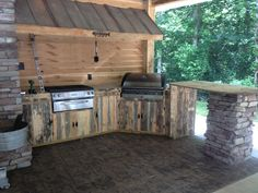 like this but I want concrete counter tops and tin cabinet facings instead of rough cut lumber