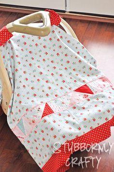 Handmade baby girl carseat cover