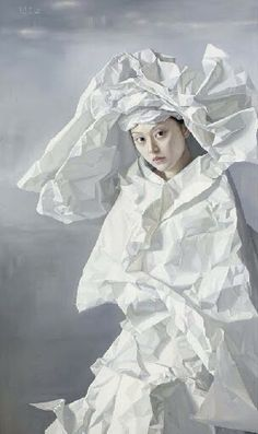 Zeng Chuanxing (b. 1974) Paper Bride signed in English and Pinyin and dated '2006 Zeng Chuan Xing' oil on canvas 59 1/8 x 35 3/8in. Painted in 2006