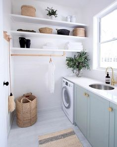 Browse laundry room ideas and decor inspiration for small spaces. Custom laundry rooms and closets, including utility room organization & storage ideas. Laundry Room Design, Laundry In Bathroom, Laundry Decor, Modern Laundry Rooms, Basement Laundry, Chair In Bathroom, Laundry Room Small, Laundry Room Baskets, Laundry Room Colors