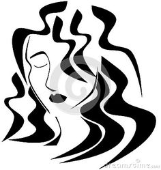 Image representing an artistic woman face with long hair and closed eyes