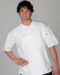 Ed Garments Adult Lightweight Moisture Wicking Short Sleeve Chef Coat. 3331