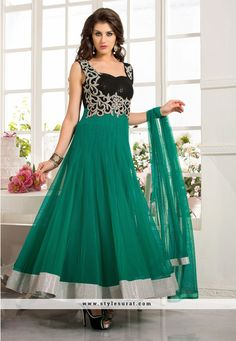 Sea Green Net Designer Anarkali Salwar Suit-2701
