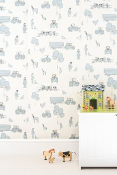 Katie Bourne Interiors - cluck a doodle farm - cream and blue Kids Wallpaper, High Quality Wallpapers, Farm Yard, Nursery Inspiration, Farm Life, Tree Branches, All Design, Art Pieces, Doodles