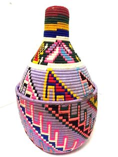 Vintage Moroccan Berber Tribal Handwoven Multicolor Wool Bread Lidded Basket XXL