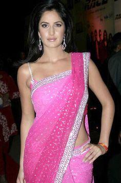 Katrina Kaif, naturally stunning, in a pink sari