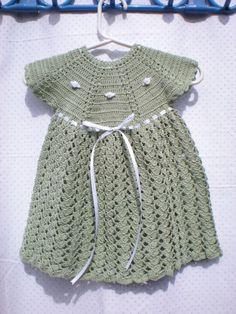 Cute crochet knit girl's dress on Etsy Crochet Dress Girl, Crochet Bebe, Baby Girl Crochet, Crochet Baby Clothes, Cute Crochet, Crochet For Kids, Knit Crochet, Crochet Dresses, Little Girl Dresses