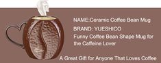YUESHICO Ceramic Coffee Bean Mug - Funny Coffee Bean Shape Porcelain Coffee Cup, Best Christmas Birthday Thanksgiving Day Gifts for the Caffeine Lover Christmas Birthday, Thanksgiving Birthday, Christmas Fun, Coffee Beans, Coffee Cups, Coffee Humor, Funny Coffee, Christmas Candles, Caffeine