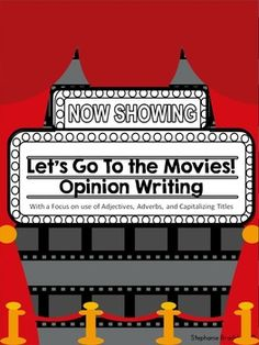 Super fun Opinion writing with graphic organizers and work with adjectives and adverbs. Plus there is a fun assessment piece where kids get to fill out movie tickets to provide peer feedback! Perfect match with Common Core writing standards!
