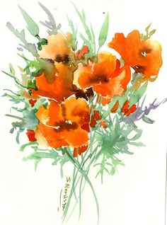 Flowers Artwork California Poppies, Original watercolor painting, orange flowers, wild floral art, orange green, originale d'aquarelle by ORIGINALONLY on Etsy