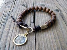 Bohemian Wood Bead Bracelet Artisan Hook Clasp by DeetabyDesign