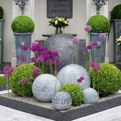 house flower garden 565272190727698253 - The zinc leaf ball is made out of hundreds of individually cut leaves and hand welded onto a spherical frame. The Leaf balls add interest to the garden. Small Backyard Gardens, Backyard Garden Design, Back Gardens, Small Gardens, Garden Art, Rustic Backyard, Garden Spheres, Garden Balls, Flower Garden Design
