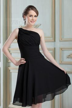 Chic Ruched A-Line One-shoulder Short Bridesmaid Dress. Would probably get it for myself in the Watermelon color.