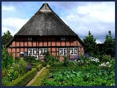 Farmhouse and Garden, Molfsee, open air museum near Kiel, Schleswig-Holstein ~ Germany,  Google images