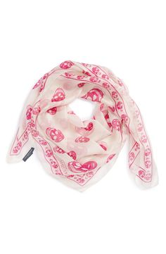 Everything is better in pink! Love the signature skull print on this Alexander McQueen chiffon scarf.